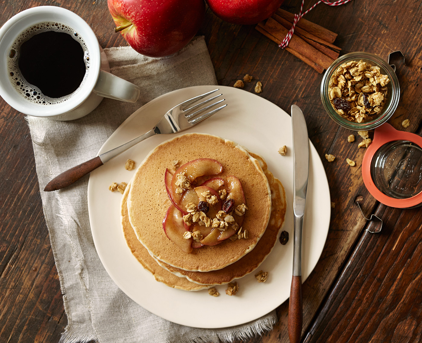 pancakes, cinnamon apples