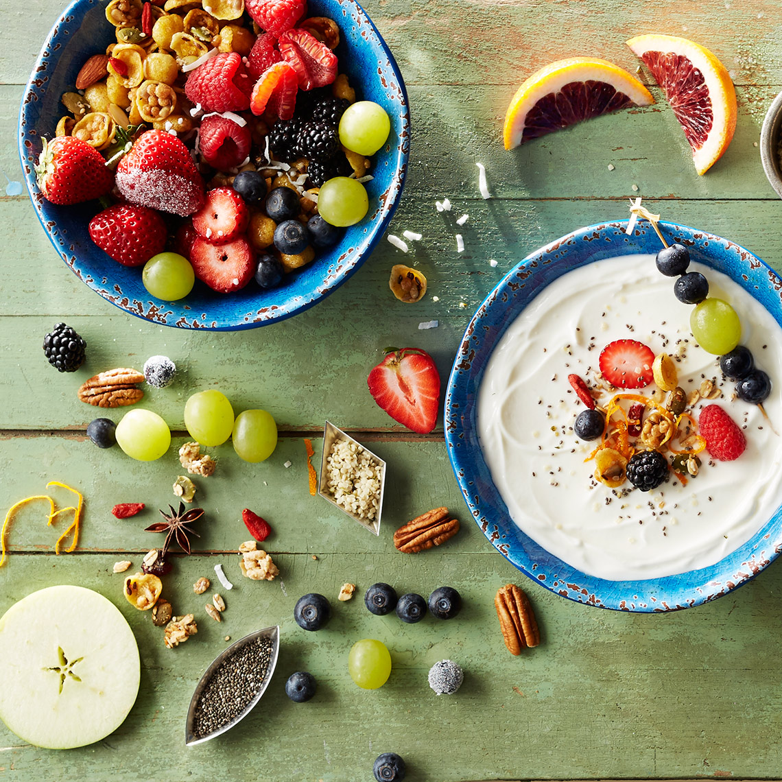Yogurt,  Fruit, Berries,  Nuts